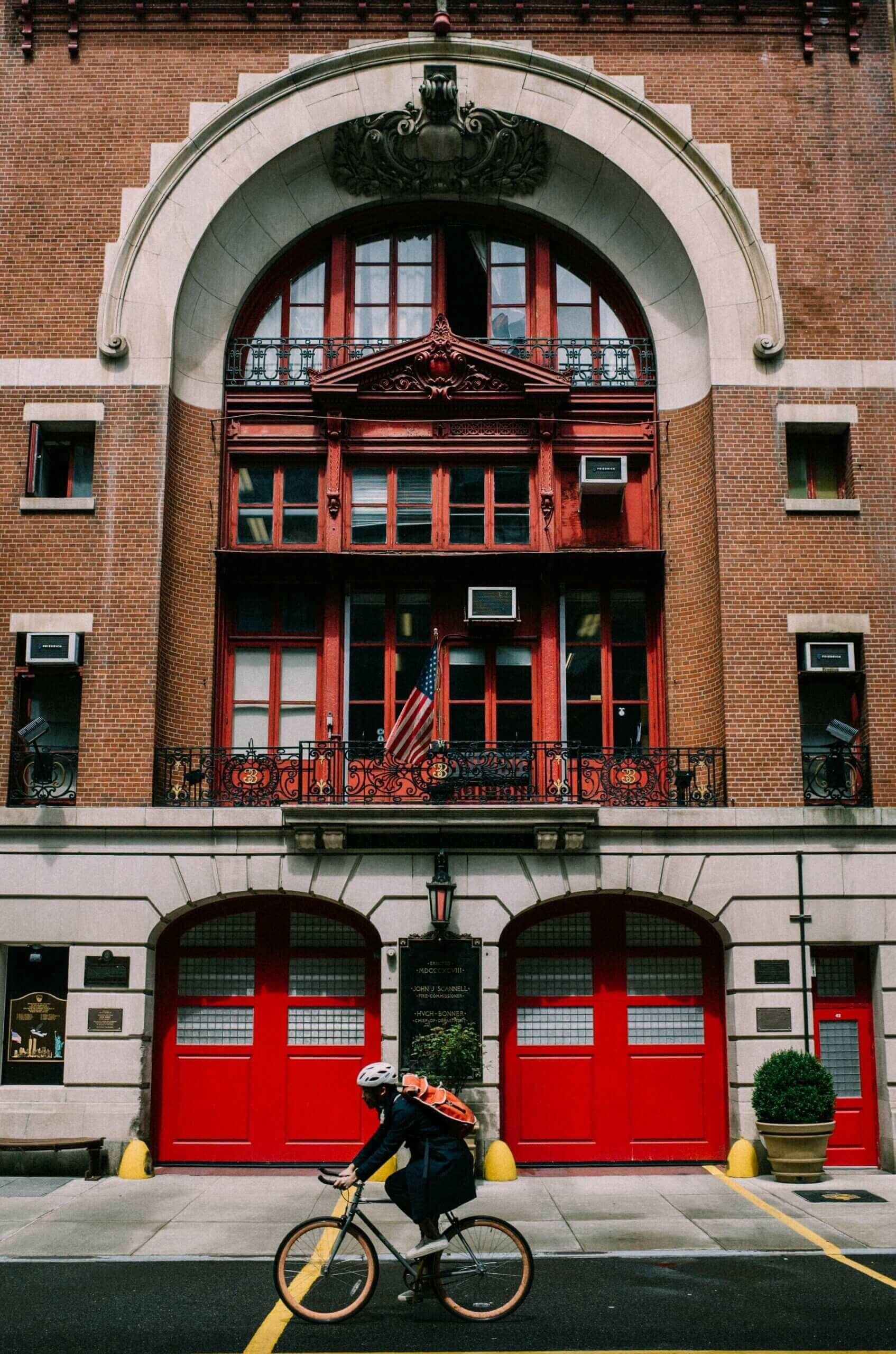 A frontal view of a fire station in the East Village